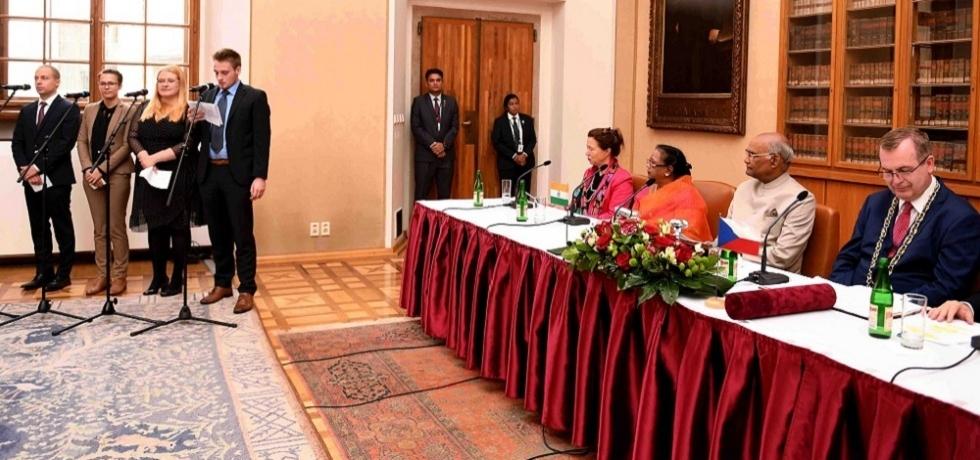 The President of India, Shri Ram Nath Kovind attending the function at Charles University at Prague in the Czech Republic on September 8, 2018.