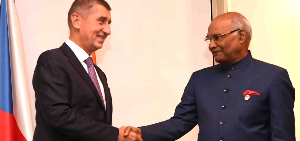 H.E. Mr. Andrej Babiš, Prime Minister of the Czech Republic meets H.E. Mr. Ram Nath Kovind, President of India on his State visit to Czech Republic from 6-9 September, 2018