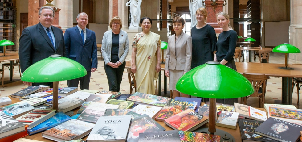 Ambassador gifted 100 books to the Czech Academy of Sciences for setting up of the India section at the iconic library of the Academy on 26 March, 2019