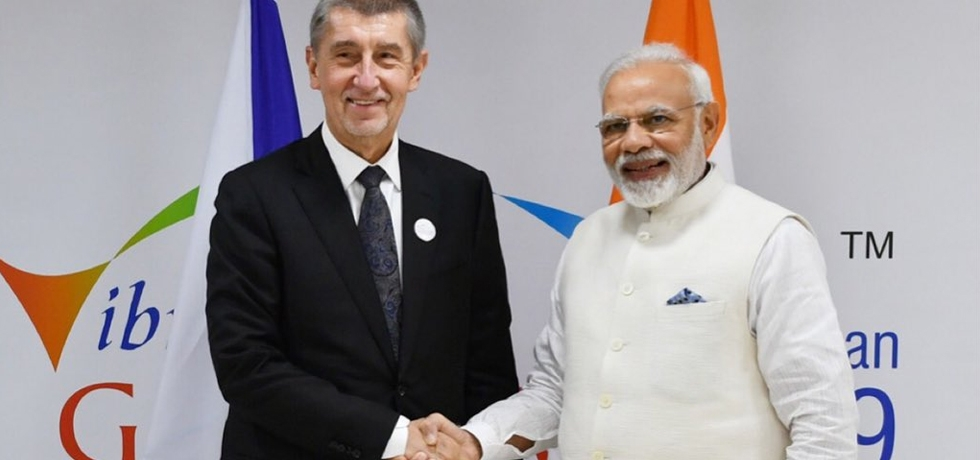H.E. Mr. Andrej Babiš, Prime Minister of the Czech Republic meets H.E. Mr. Narendra Modi, Prime Minister of India during his visit to India for Vibrant Gujarat Global Summit 2019